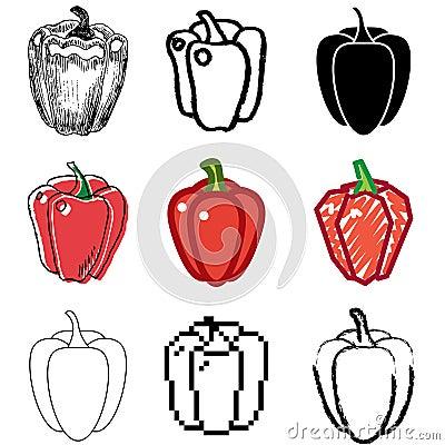 Pepper icons set