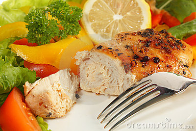 Pepper lemon chicken breast and salad