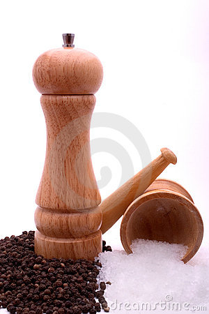 Pepper mill and grinded salt