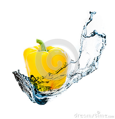Pepper with water splash