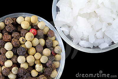 Peppercorns and Raw Sea Salt
