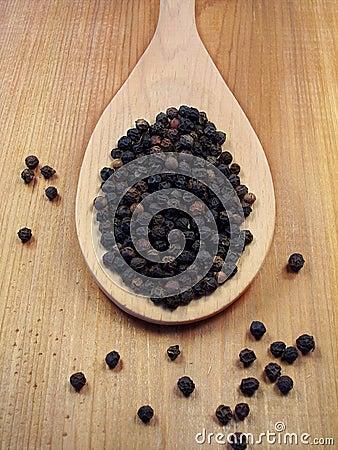 Peppercorns on Spoon