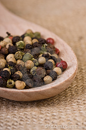 Peppercorns on Wooden Spoon