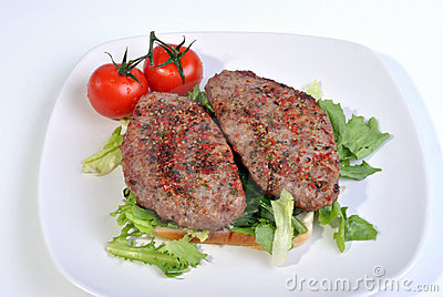 peppered lamb grill steak and organic tomato