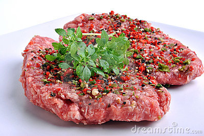 Peppered lamb grill steak on a white plate