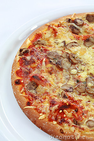 Pepperoni pizza with mushrooms