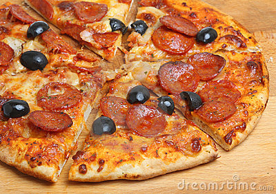 Pepperoni Pizza with Olives