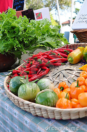 Peppers and greens at the farmers market