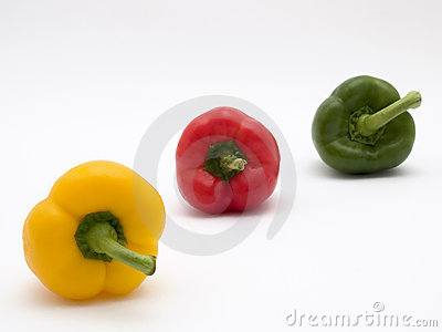 Peppers yellow green and red