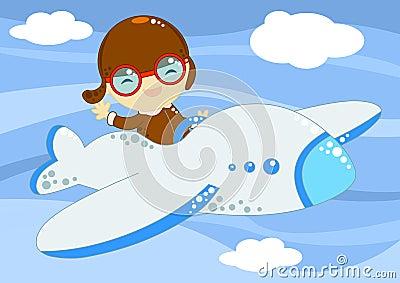 Pequeño aviador para arriba en el cielo