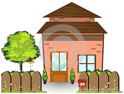 Casa del fairy tale en yarda con la cerca de madera fotos de ...