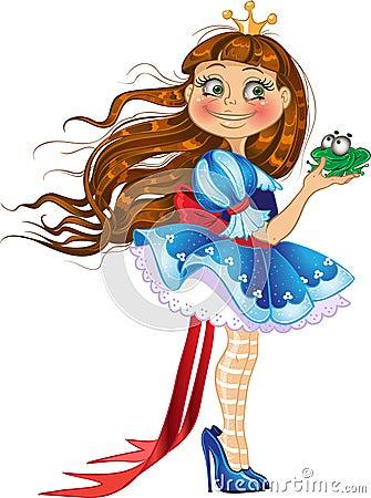 Pequeña princesa con la rana