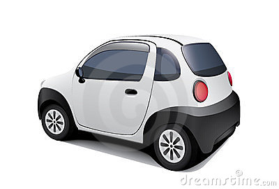 Pequeño coche especial en el fondo blanco