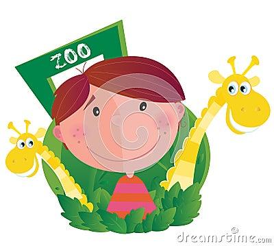 Pequeño muchacho con dos jirafas en parque zoológico