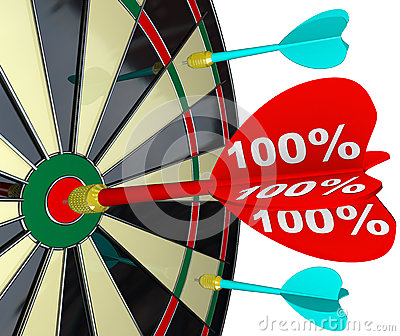 100 Percent Dart Hitting Dartboard Perfect Score