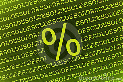 Percent sign on soldes text