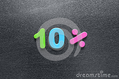 10 percent spelled out using colored fridge magnets