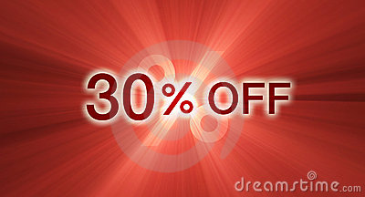 Percentage off discount red banner