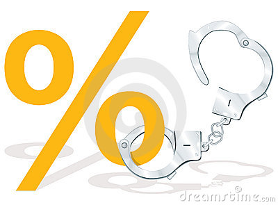 Percentage symbol with handcuffs