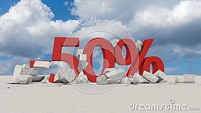 50 percents στο σπασμένο πάγο απεικόνιση αποθεμάτων