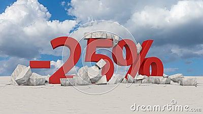 25 percents στο σπασμένο πάγο απεικόνιση αποθεμάτων