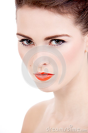 Perfect beauty woman face with orange lips isolated