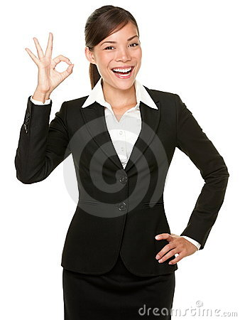 Free Perfect - Business Woman OK Sign Stock Photo - 20729210