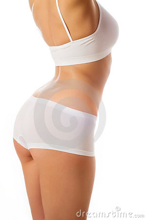Perfect female body isolated on white.