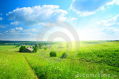 Perfect summer day in village