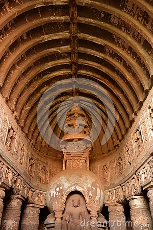 Free Perfectly Sculptured Arch At Ajanta Caves Royalty Free Stock Photos - 143369208