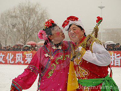Perform traditional dance Yangge in the snow Editorial Photo