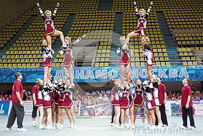 Performance of cheerleaders team at Championship Editorial Stock Photo