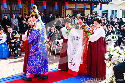 A performance of the Traditional Korean Wedding. Editorial Photo