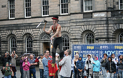 Performer at Edinburgh Festival Editorial Stock Photo