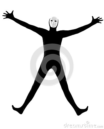 Performer mime with mask happy saluting