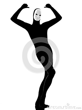 Performer Mime With Mask Satisfied Royalty Free Stock ...