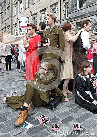 Performers during Edinburgh Fringe Festival Editorial Photo