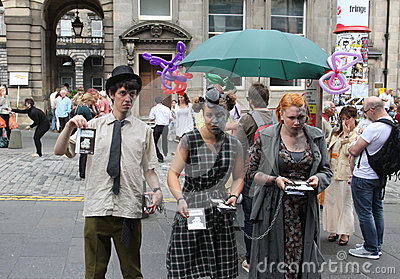 Performers during Edinburgh Fringe Festival Editorial Photography