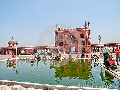 Performing ablution at Jama Masjid, New Delhi Editorial Stock Image