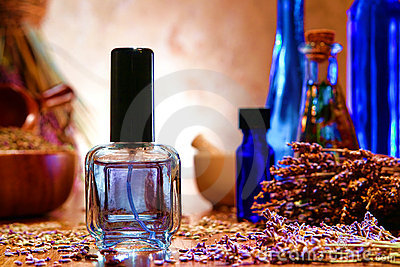 Perfume Bottle with Lavender Flowers in a Shop