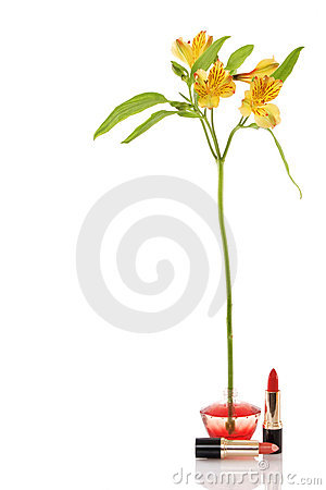Free Perfume Bottle, Yellow Flower And Two Red Lipstick Royalty Free Stock Image - 19142266