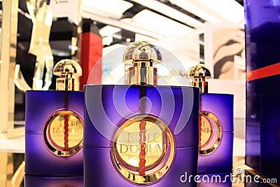 Perfume bottles of yves saint laurent Editorial Photo