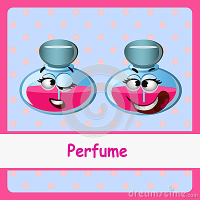 Perfume Funny Characters On A Blue Background Stock