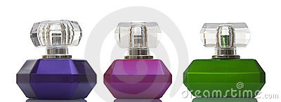Perfume in glass bottles