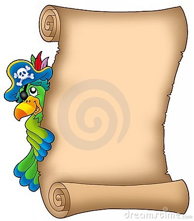 Pergament mit lauerndem Papageien