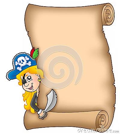 Pergaminho com a menina de espreitamento do pirata