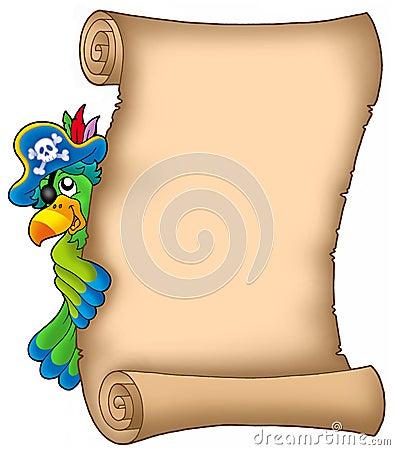 Pergaminho com papagaio de espreitamento