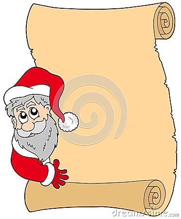 Pergaminho com Papai Noel de espreitamento