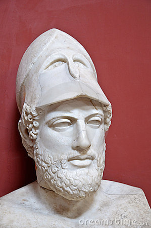 Ancient Greek statesman Pericles - marble portrait bust in Vatican.
