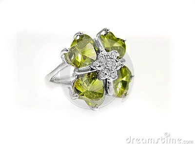 Peridot / gem, diamond, and silver ring on white